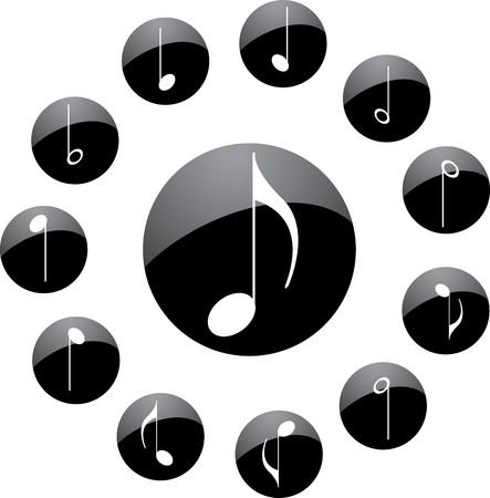 quavers: Icon. Music notes.  Stock Photo