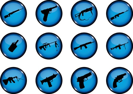 Guns. Set of 12 round  buttons for web  Stock Photo - 7296318