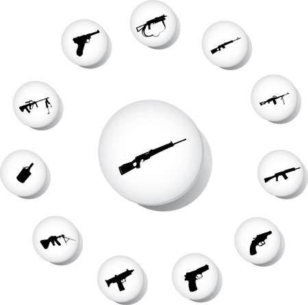 Guns. Set of 12 round buttons for web Stock Photo - 7295982