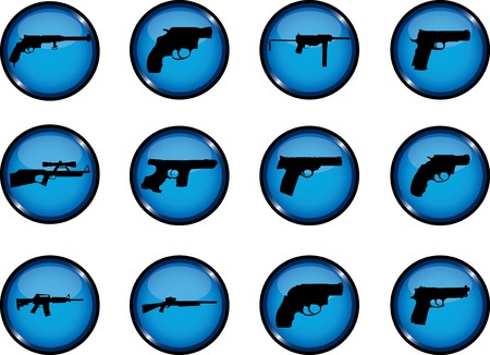Guns. Set of 12 round  buttons for web  Stock Photo