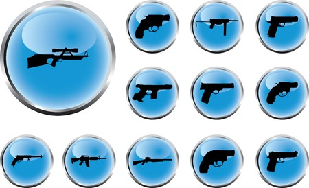 Guns. Set of 12 round buttons for web
