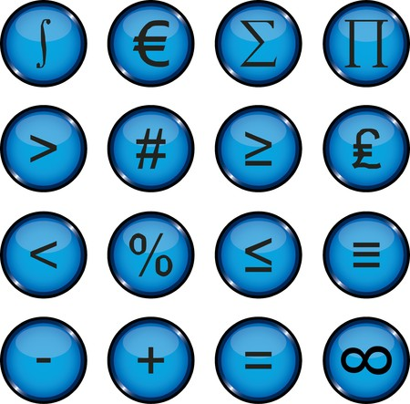 Mathematics. Set of 12 round  buttons for web