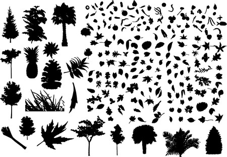 Huge set consisting of trees, leaves, branches, vegetables and fruit.