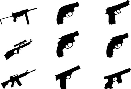 Guns. Set of 9 round  buttons for web Stock Photo - 7295444