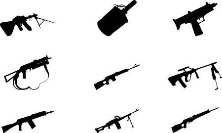 Guns. Set of 9 round  buttons for web  Stock Photo - 7295439