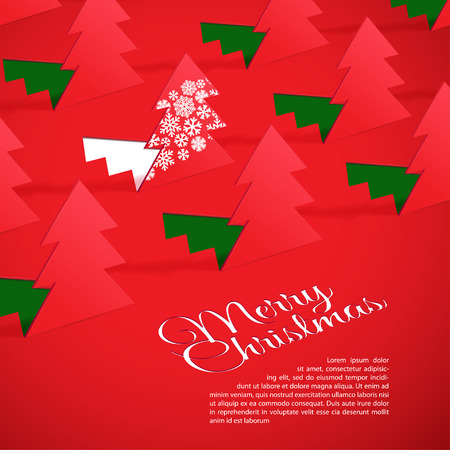 Creative Christmas tree formed from cut out paper. Vector