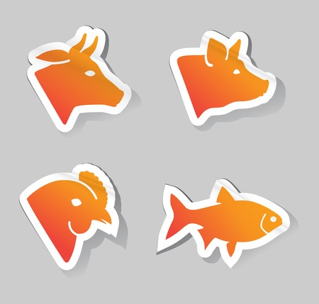 veal: Vector Illustration of meat animals icons Illustration