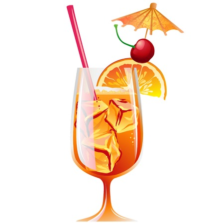 bahama: Vector Illustration Icon of Cocktail Bahama Mama with ice and garnish
