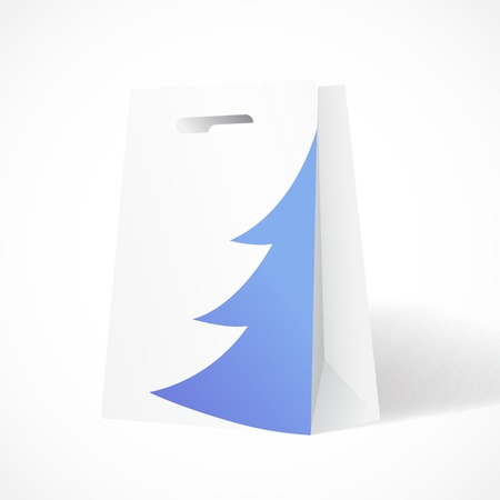 Vector Illustration of Festive paper bag with fir-tree for your business Illustration