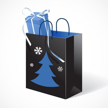 paperbag: Vector illustration of Festive black paper-bag with christmas tree, snowflakes and gift tied with a bow