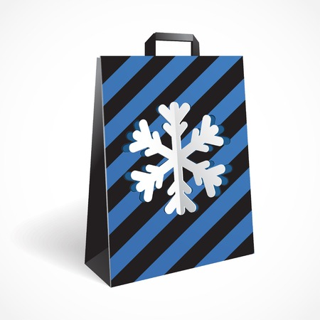 paperbag: Vector illustration of Festive black striped paper-bag with cut out snowflake