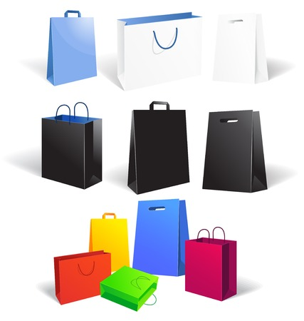 unprinted: Vector Illustration of Set of empty shopping bags isolated on white background, vector illustration