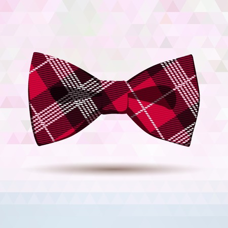 bow tie: Vector Illustration of  Red Tartan bow-tie