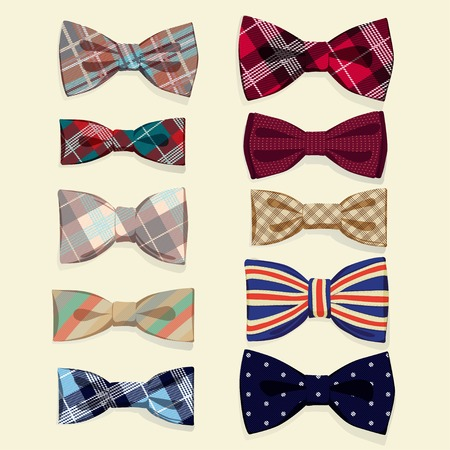 formal wear: Vector Illustration of  Set of vector bow-ties