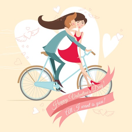 Vector Illustration of  Loving  couple on the bicycle. Valentines day greeting card. Vector