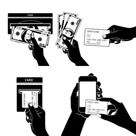 Vector Illustration of Icon set with Hands holding credit card, smartphone, money and other commercial objects Vector