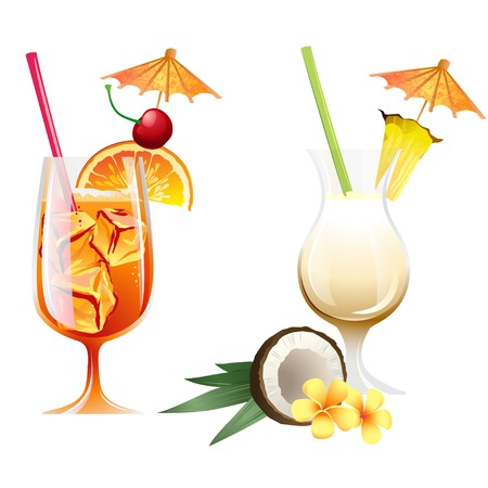 cocktail drinks: Set of Vector Illustration Icons beach tropical cocktails bahama mama and pona colada with garnish