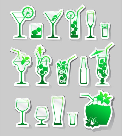 daiquiri: Vector Illustration of  Cocktails and glasses with alcohol on stickers