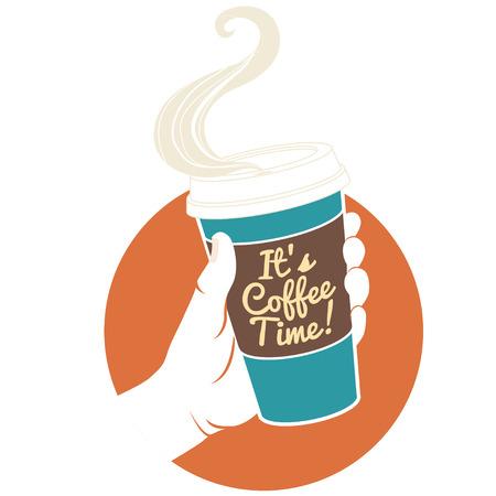 """일회용 커피 잔을 들고 벡터 일러스트 레이 션 손. 텍스트와 골 판지 표지는 """"그것은 커피 시간이다!"""""""
