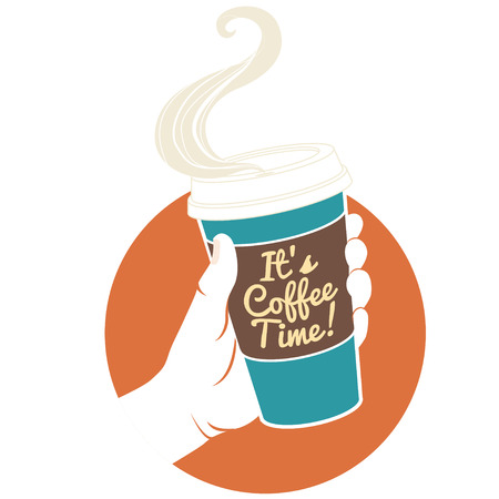 take: Vector illustration hand holding disposable coffee cup. Cardboard cover with text Its coffee time!