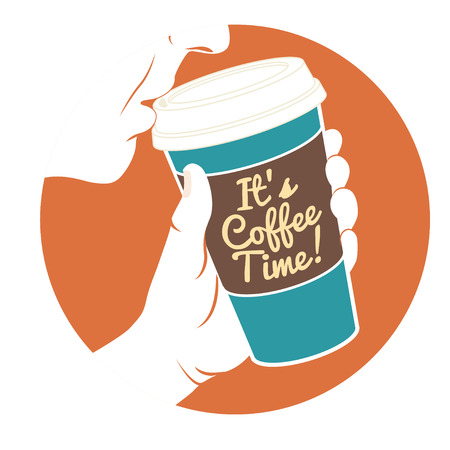 Vector Illustration Man drinking coffee with hand holding disposable coffee cup. Cardboard cover with text Its coffee time! Vector