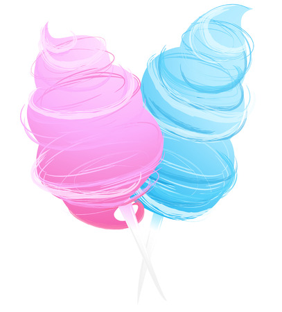 Vector Illustration Icon of cotton sweet candy isolated on white