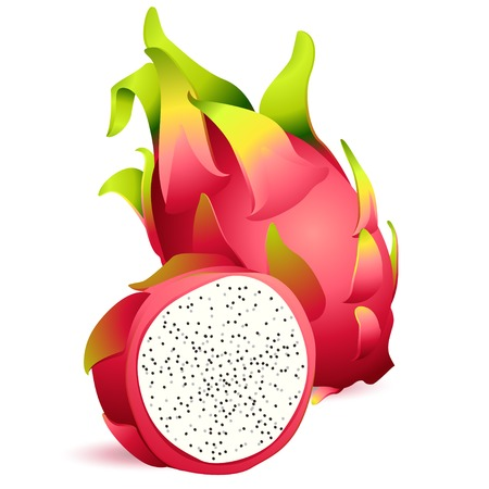 3d dragon: Vector Illustration Icon of Ripe exotic dragonfruit with slice