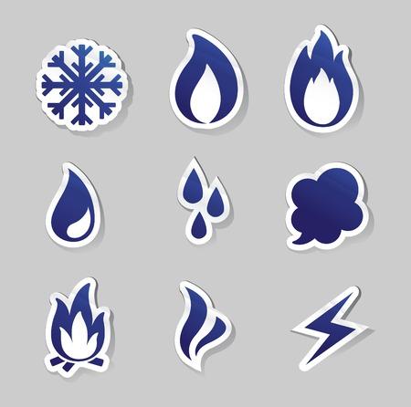 frieren: Vector Illustration von Feuer, eingefroren, Dampf, Wasser Symbole