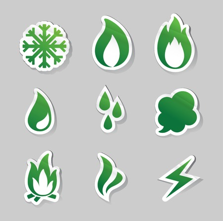 freeze: Vector Illustration of  fire, freeze, steam, water icons