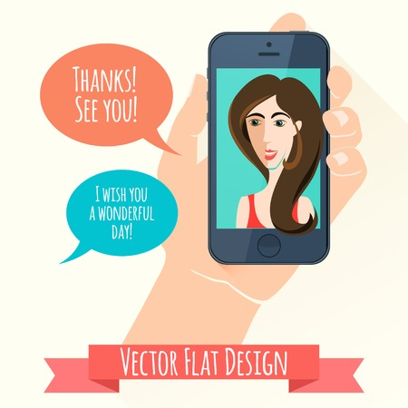 phone conversation: Vector Illustration of Phone conversation. Flat style