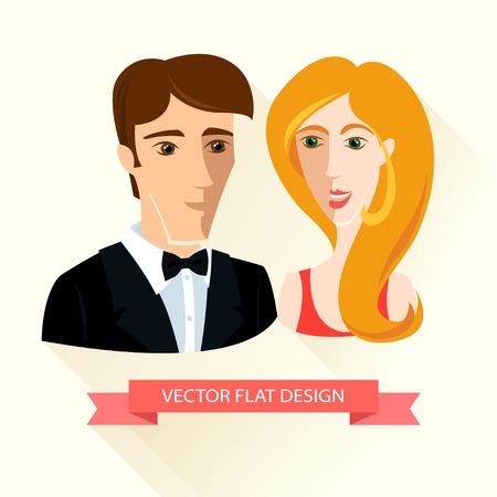Vector Illustration of Festively dressed couple. Flat design. Vector