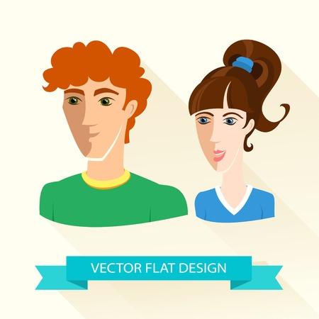 Illustration Vecteur de jeune garçon sportif et l'équipe de fille. Design plat.