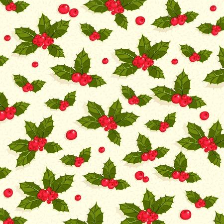 aquifolium: Vector Illustration of Christmas holly berries seamless pattern background Illustration