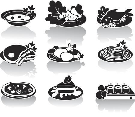 dish fish: Sopa, plato de pescado, plato de carne, ensalada, plato de pollo, pasta, pizza, postres y sushi