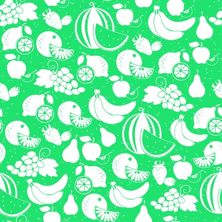 Vector Illustration of  fruit white silhouette seamless pattern Vector