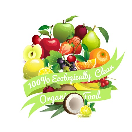 ecologically: Vector Illustration of  Circle shape contains different fruits with ribbon label 100% ecologically clean