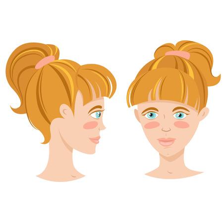 tail woman: Mujer joven con pelo de cola de ilustraci�n vectorial sonriente rubia Vectores