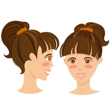 tail woman: Mujer joven con pelo de cola de ilustraci�n vectorial Brunette sonriente Vectores