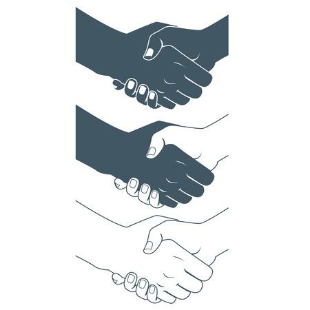 Vector Illustration of  Handshake. Flat style. Black and white skin Stock Illustratie