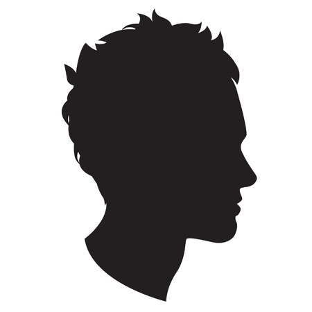 male face profile: Vector Illustration Icon of  Man head silhouette