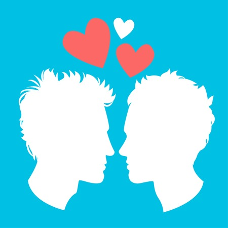 homosexuality: Vector Illustration of Profiles of two men homosexual couple