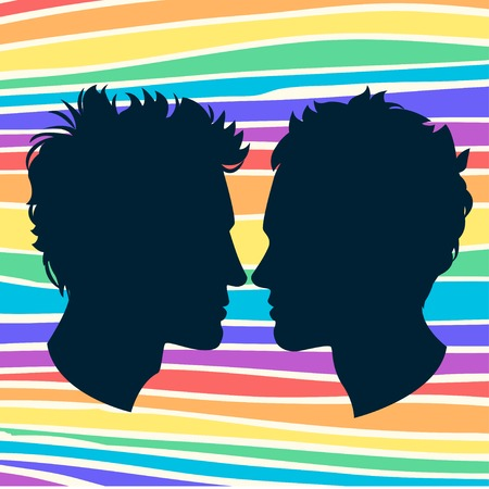 Vector Illustration of  Profiles of two men homosexual couple. Rainbow background Illustration