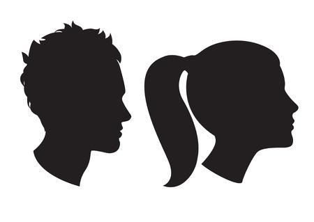 Illustrazione vettoriale Icone di donna e testa silhouette uomo Archivio Fotografico - 33845246