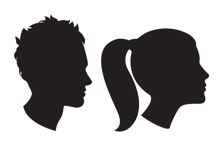 Vector Illustration Icons of Woman and man head silhouette Çizim