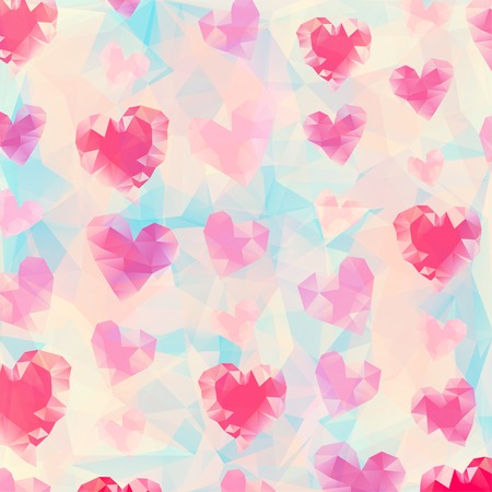Vector Illustration of  Triangle heart background Vector