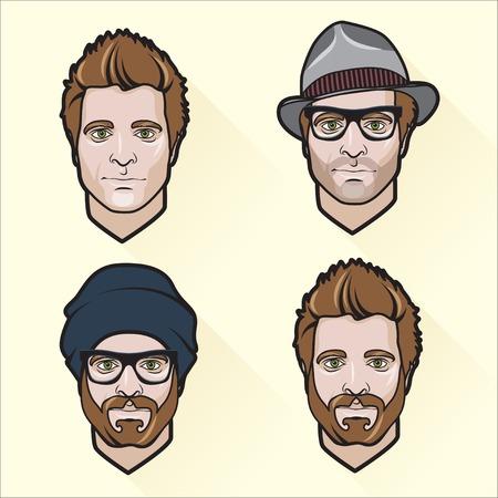 hombres ejecutivos: Ilustraci�n del vector de Conjunto de retratos de los hombres de dise�o planos.