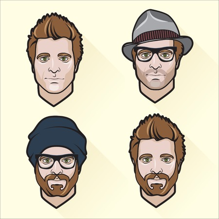 cool guy: Vector Illustration of Set of flat design mens portraits.