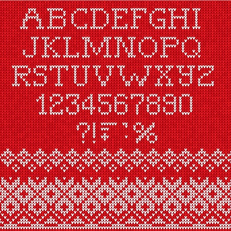 Vector Illustration of Christmas Font: Scandinavian style seamless knitted Vettoriali