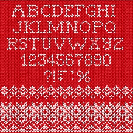 Vector Illustration of Christmas Font: Scandinavian style seamless knitted Illustration