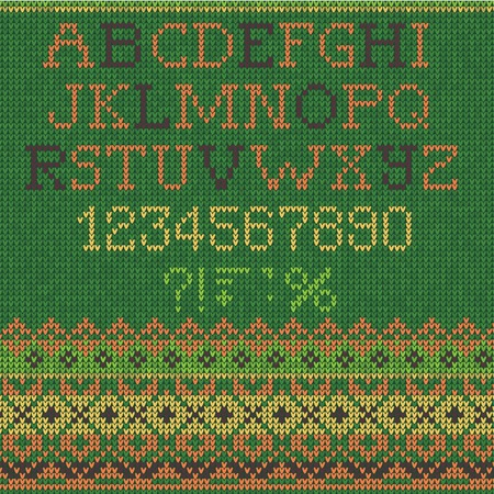 Vector Illustration of  Christmas Font: Scandinavian style seamless knitted.  Colors: green, yellow, purple Vector
